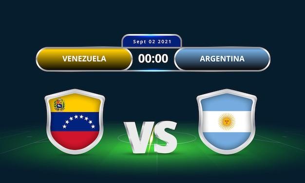 Fifa wereldbeker 2022 venezuela vs argentinië voetbalwedstrijd scorebord uitzending