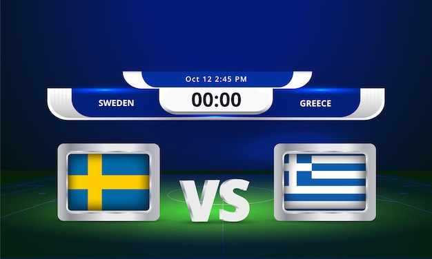 Fifa wereldbeker 2022 zweden vs griekenland voetbalwedstrijd scorebord uitzending