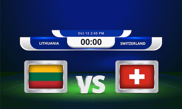 Fifa world cup 2022 litouwen vs zwitserland voetbalwedstrijd scorebord uitzending