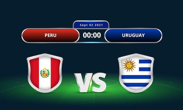 Fifa world cup 2022 peru vs uruguay voetbalwedstrijd scorebord uitzending