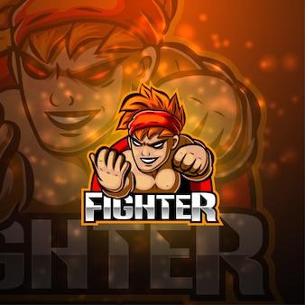 Fighter esport mascotte logo ontwerp
