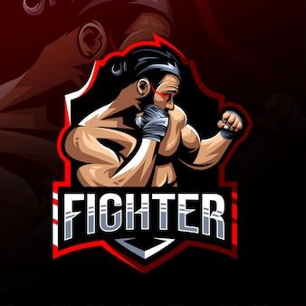 Fighter mascotte logo esport