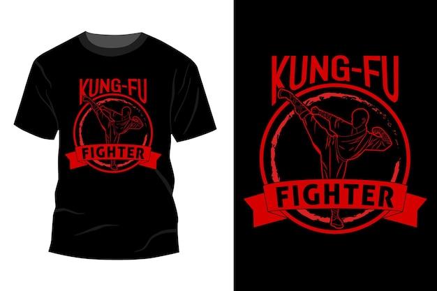 Fighter silhouet t-shirt mockup ontwerp