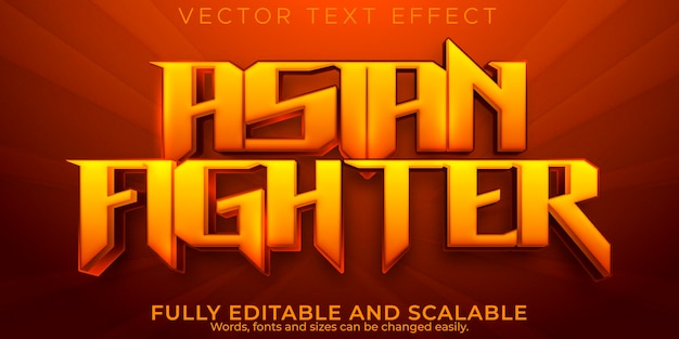 Fighter-teksteffect, bewerkbare aziatische en gaming-tekststijl