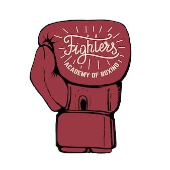 Fighters academy of boxing. hand getrokken bokshandschoenen die op witte achtergrond worden geïsoleerd.