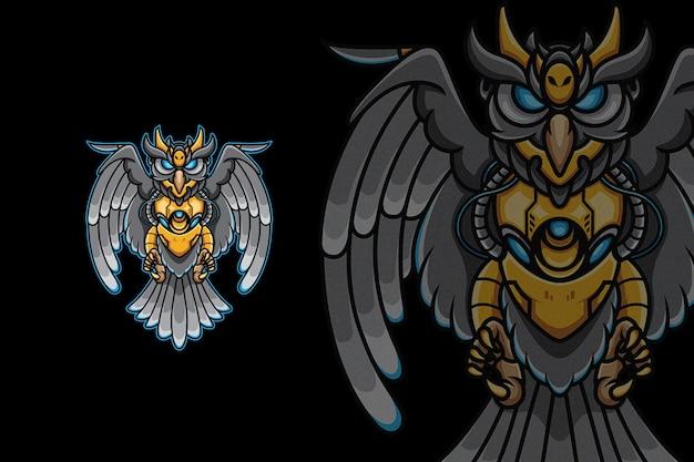 Figter owl mecha robotic dark illustration