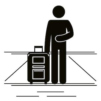Figuur menselijke reiziger met koffer silhouet