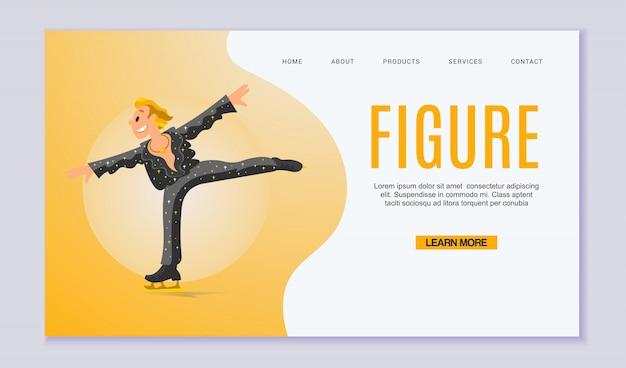 Figuur scating, olympische soorten ska-evenementen webaite sjabloon