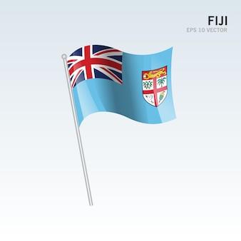 Fiji zwaaien vlag geïsoleerd op een grijze achtergrond
