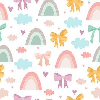 Fijn patroon met regenbogen en strikken