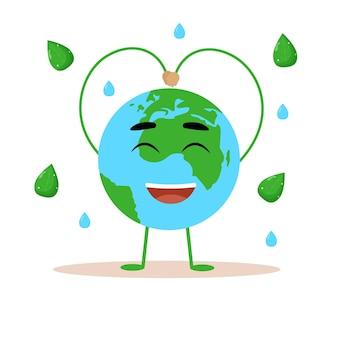 Fijne aarde dag. aarde met een grappig gezicht. platte vectorillustratie