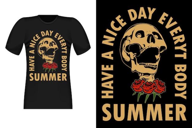 Fijne dag met skeleton vintage t-shirt design