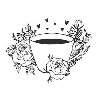 Fijne dag. neem een koffieposter. silhouet van een kopje koffie op een schoolbord.