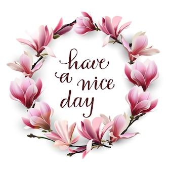 Fijne dag nog handgetekende letters geïsoleerd op een witte achtergrond met een krans van roze magnolia's