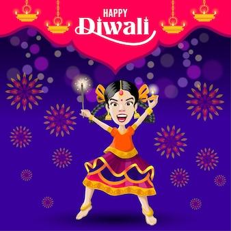 Fijne diwali-groeten van een opgewonden meisje dat viert met lamp en crackers
