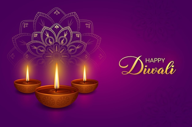 Fijne diwali. paarse achtergrond met diwali brandende diya-elementen en mandala, rangoli-vectoren