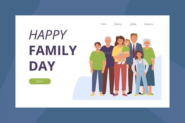 Fijne familiedag. bestemmingspaginasjabloon met platte stripfiguren. vader, moeder, zoon, dochter, grootmoeder, grootvader.