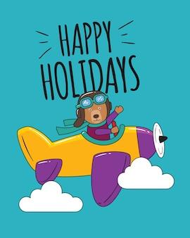 Fijne feestdagen draag vliegen in de lucht met geel vliegtuig
