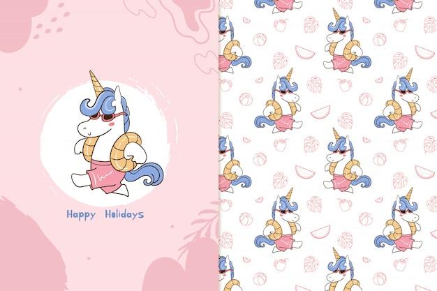 Fijne feestdagen eenhoorn patroon