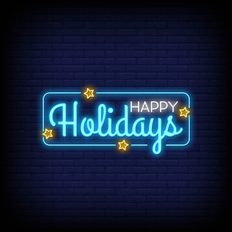 Fijne feestdagen neonreclames