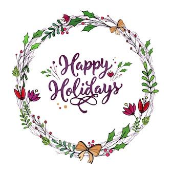 Fijne feestdagen ronde cirkel voor kaarten en cadeautjes