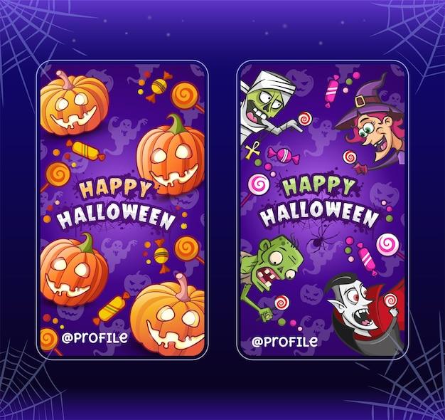 Fijne halloween. cartoon illustraties sjablonen voor verhalen. verzameling. heks, zombie, pompoenen