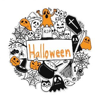 Fijne halloween. doodles stijl.