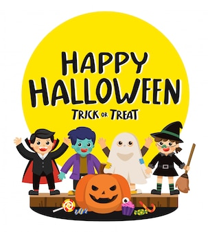 Fijne halloween en trick or treat party. kinderen in kleurrijke kostuums en pompoenen met snoep. sjabloon voor reclamefolder.