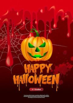 Fijne halloween enge jack lantaarn en bloederig bloedspinnenweb