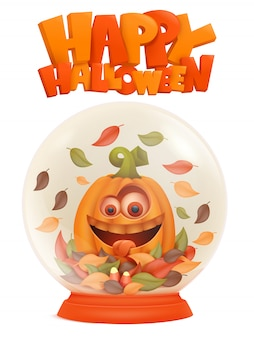 Fijne halloween. glas souvenir sneeuwbal met halloween pompoen stripfiguur