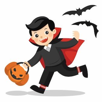 Fijne halloween. grappige kleine kinderen in dracula-kostuum met pompoenmand voor trick or treat op witte achtergrond.