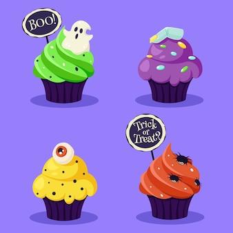 Fijne halloween. griezelige cupcakes met oog, spin, geest. illustratie in vlakke stijl.