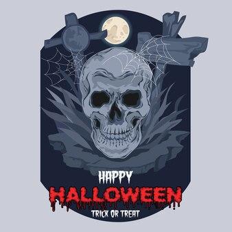 Fijne halloween. griezelige schedelillustratie