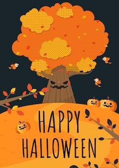 Fijne halloween. grote boom, vogels en pompoen in de tuin.