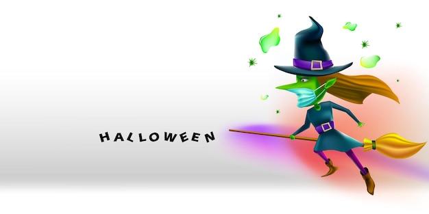 Fijne halloween-heks die gezichtsmasker draagt dat beschermt tegen coronavirus of covid-19
