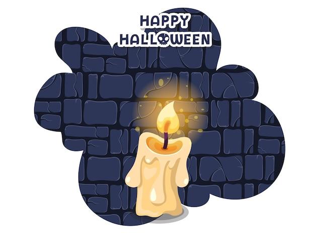 Fijne halloween. icoon met de kaarsen branden. kandelaar symbool. wenskaart, uitnodiging voor feest. kleur achtergrond vectorillustratie