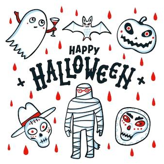 Fijne halloween-kaart Premium Vector