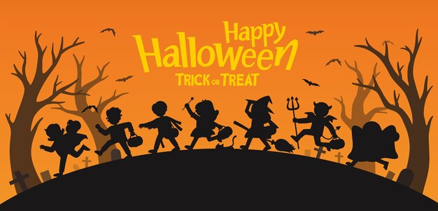 Fijne halloween. kinderen gekleed in halloween-kostuums om te gaan trick or treating.sjabloon voor reclamefolder.