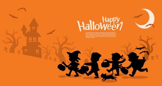 Fijne halloween. kinderen gekleed in halloween-verkleedkleding voor trick or treating. sjabloon voor reclamefolder.