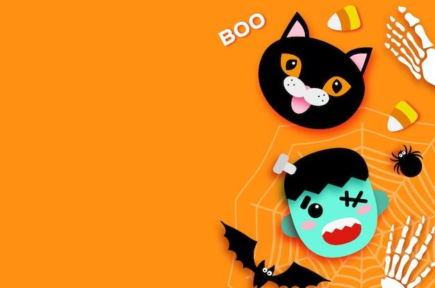 Fijne halloween. monster frankenstein. zwarte kat. snoep of je leven. vleermuis, spin, web, snoep, botten. ruimte voor tekst oranje vector