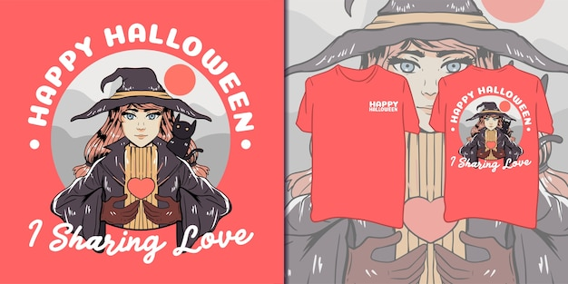 Fijne halloween. mooie heks illustratie voor t-shirt
