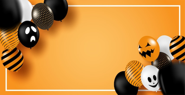 Fijne halloween. ontwerpen met ballonnen partij op oranje achtergrond. .