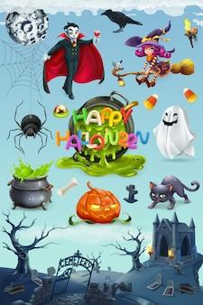 Fijne halloween. pompoen, spin, kat, heks, vampier en begraafplaatslandschap