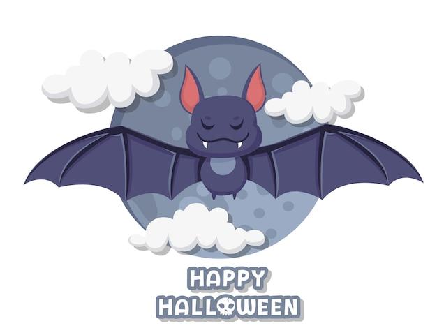 Fijne halloween. schattige cartoon vleermuis vliegende vector op de achtergrond. bos dier. plat ontwerp. wenskaart, uitnodiging voor feest. vector illustratie