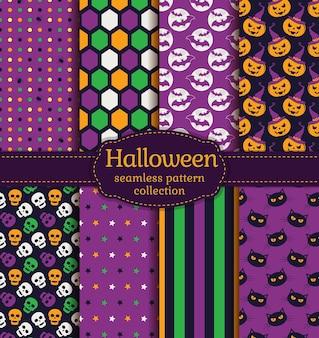 Fijne halloween! set van naadloze achtergronden met pompoenen, schedels, vleermuizen, sombere katten en abstracte geometrische patronen. vector collectie in paarse, zwarte, groene, oranje en witte kleuren.