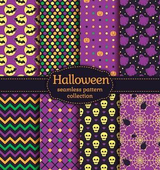 Fijne halloween! set van naadloze achtergronden met vleermuizen