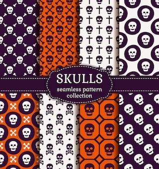 Fijne halloween! set van naadloze patronen met traditioneel vakantiesymbool