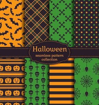 Fijne halloween! set van naadloze patronen met traditionele vakantiesymbolen