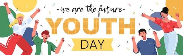 Fijne jeugddag. 12 augustus. positieve jonge mensen met mooie heldere decoratieve elementen.