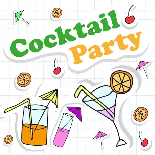 Fijne kerstkaart met cocktail. vector illustratie